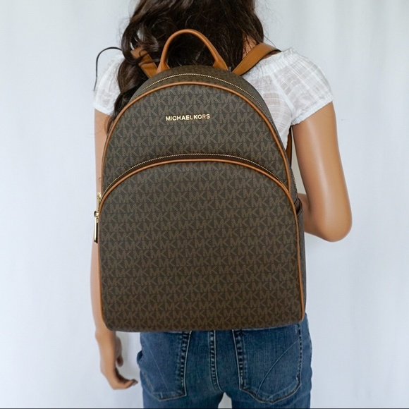 99473824552a Michael Kors Bags | Abbey Large Backpack Brown Signature | Poshmark